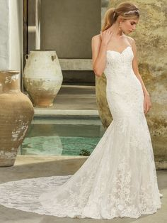 Lace wedding dress idea -strapless, sweetheart neckline fit and flare gown with semi cathedral length Chantilly lace train and optional removable panel for illusion back. Style 2294 Avery by Casablanca. Find more inspiration on WeddingWire! Trumpet Style Wedding Dress, Lace Wedding Dress, Fit And Flare Wedding Dress, Wedding Dress Trends, Gorgeous Wedding Dress, Bridal Wedding Dresses, Bridal Style, Wedding Ideas, Casablanca Bridal Gowns