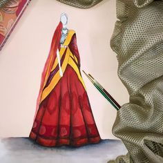 Fashion Model Sketch, Fashion Design Sketchbook, Fashion Illustration Sketches, Fashion Sketches, Art Sketches, Fashion Models, Wedding Card Design Indian, Indian Drawing, Indian Fashion