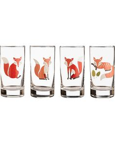 Make room in your kitchen cupboards for a set of whimsical fox glasses! Get the set of four here: http://www.bhg.com/shop/paper-source-paper-source-fox-glasses-p519688f0e4b02242d5e2b614.html?mz=a