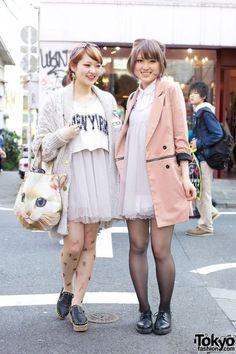 Since I'm in my 20's now, I prefer simpler fashion like this with more subdued colors. Yet it's still cute and fashionable. :) Japanese Street Fashion, Tokyo Fashion, Harajuku Fashion, Kawaii Fashion, Cute Fashion, Fashion News, Korean Fashion, Japanese Streets, Seoul Fashion