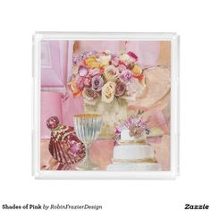 Shades of Pink Square Serving Trays
