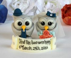 Owl love bird wedding custom cake topper coral by PerlillaPets