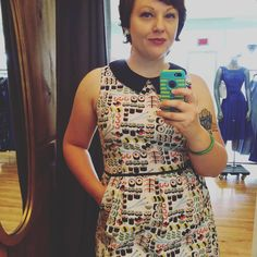 Hempton's Retro owner, Beth, wearing the amazing #sushi dress by Retrolicious. #sushiprint #noveltyprint #retro
