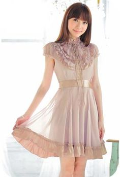 Ruffle Bib Standing Collar Dress. Also, have I ever mentioned how much I wish I were Asian?