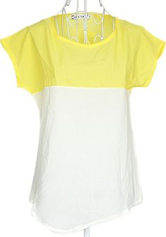 Yellow-Beige Color Block Sweet Short Sleeve Chiffon Blouse