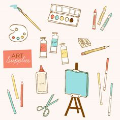 Adorable art supplies clip art by Nisee Made. #MalloryMcInnis