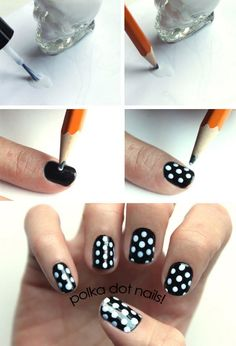 Polka dot nails.  Never thought of using a pencil, it's brilliant!  You can change the size of your polka dots, too, by using or sharpening the pencil.  So neat!!!