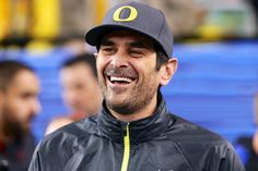 Modern Family actor Ty Burrell on the field at University of Phoenix stadium before the Ducks' win over Kansas State in the 2013 Tostitos Fiesta Bowl. (Photo by Richard Seow) #GoDucks