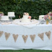 Vintage Cake Table With Lace Tablecloth
