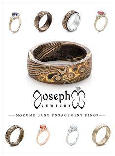 Mokume Gane Engagement Rings from Joseph Jewelry @weddingchicks