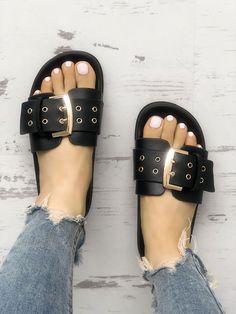 Eyelet Buckled Design Single Strap Flat Sandals USD$30.25