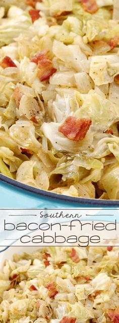 This Southern Bacon-Fried Cabbage from Love Bakes Good Cakes uses simple ingredients that combine perfectly to create a southern home cooked side dish that goes perfectly with so many different dinner recipes!