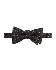 Glitter-Dot Silk Bow Tie, Women's, Black - Edward Armah