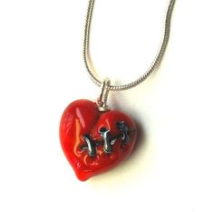 Dark Valentine Red Stitched Glass Heart by aStudiobytheSea