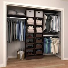Home Decorators Collection Assembled Reach-In 15 in. D x 120 in. W x 84 in. H Calabria in a Cognac Melamine Closet System, Red 84 in. H x 60 in. to 120 in. W x 15 in. D White Melamine Reach-In Closet Kit Bedroom Closet Design, Master Bedroom Closet, Closet Designs, Bedroom Closets, Closet Wall, Boys Closet, Bedroom Closet Ideas For Small Spaces, Attic Closet, Bedrooms