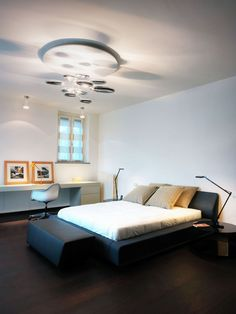 Bedroom, Black Bed, Lighting, Villa on Lake Como by Studio Marco Piva