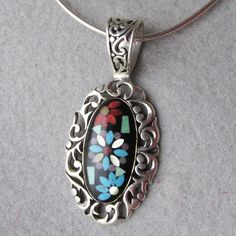 Carolyn Pollack Relios Native American Sterling Silver Inlaid Turquoise & Coral Floral Pendant Vintage Necklace