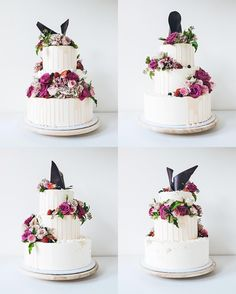 From all four angles. Three tiered asymmetric floral crescent wedding cake for @voguebridesaustralia annual Vogue Bride 2016 magazine.  #🌺 supplied by @blooms_by_elle - see @cakesbycliff Instagram