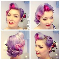 Today's hair and face, with handmade flowers and fancy false lashes because I shot some photos for a newspaper feature on my t-shirts sale for The Little Princess Trust! (Which you can buy through eBay still, just follow the link in my profile ) #vintagehair #vintageupdo #retrohair #purplehair #modernpinup #diablorose #vintagewaves #victoryrolls #vintagemakeup #lekeuxvintagesalon #lekeuxcosmetics