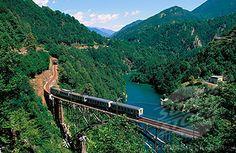 SuperStock - Mountain train at Centovalli valley. Tessin. Switzerland