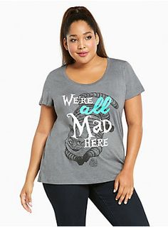 "Flash that winning smile and point at this grey tee.  Like the Cheshire Cat told Alice, ""We're all mad here."" You're going to be super ""mad"" about how soft and comfortable this tee is too.<br><br><div><b>Model is 5'10"", size 1<br></b><div><ul><li style=""LIST-STYLE-POSITION: outside !important; LIST-STYLE-TYPE: disc !important"">Size 1 measures 28 3/4"" from shoulder</li><li style=""LIST-STYLE-POSITION: outside !important; LIST-STYLE-TYPE: disc !important"">Cotton/polyester</li><..."