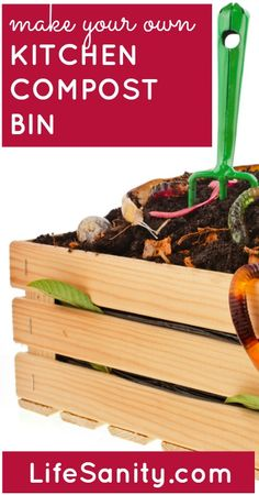 Gardening Compost Make Your Own Kitchen Compost Bin Grow Your Own Food, Make Your Own, Make It Yourself, How To Make, Garden Compost, Vegetable Garden, Gardening For Beginners, Gardening Tips, Kitchen Compost Bin