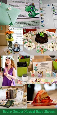 Photos of some of the results at Beth's gender-neutral dragon baby shower