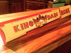 'King Dad' -  King Size Toblerone -  promotional Father's Day sleeve, 2012. A neat piece of 'special event' packaging and a welcome Father's Day gift. Thank - you Jamieson, Finlay, Tully and Sonny!