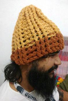 Touca ou gorro de crochê feito com 2 linhas e agulha de 10mm