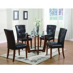 Acme Furniture - Baldwin Round Dining Set (Table and 4 Chairs) - AF-07815/07046