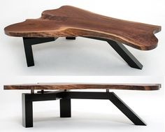 Live Edge Slab Coffee Table with Contemporary Base - Black Walnut Slab Shown… Live Edge Furniture, Metal Furniture, Rustic Furniture, Furniture Making, Furniture Design, Outdoor Furniture, Wood Table Design, Coffee Table Design, Coffee Table Legs