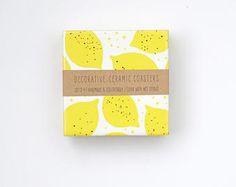 Sottobicchieri frutta limone giallo estate ceramica Tile sottobicchieri Coasters limonata illustrazione tabella