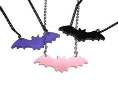 Cute Bat Necklace Choose Pink Purple or Black Pastel Goth Kawaii Creepy Laser Cut Jewellery
