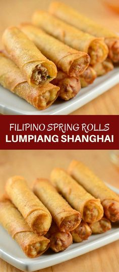 Lumpiang Shanghai filled with ground chicken, water chestnuts, and green onions. Golden, crisp and in fun bite-size, these Filipino meat spring rolls are absolutely addicting! via food recipes Filipino Recipes, Asian Recipes, Filipino Food, Filipino Lumpia Shanghai Recipe, Lumpiang Shanghai Recipe, Filipino Egg Rolls, Comida Filipina, Chicken Spring Rolls, Asian Cooking