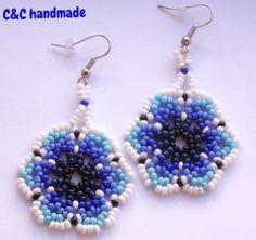 Huichol earrings,blue,3,3 cm diameter
