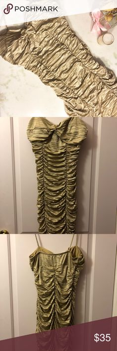 Gold dress Details:  -good for homecoming, winter ball, semi- formal dance -also good for Vegas and other clubs -great condition -hugs body Dresses Prom
