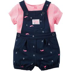"Carter's Girls 2 Piece Navy ""Always Daddy's Girl"" Allover Anchor and... ❤ liked on Polyvore featuring girls"