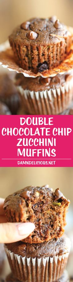 Double Chocolate Chip Zucchini Muffins - Quick, easy, AND healthy, loaded up with a double-dose of chocolate heaven. Perfect way to use up your zucchini!