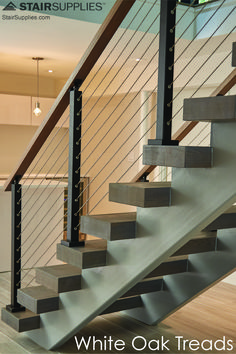 Stair Supplies is leading manufacturers of high quality wood stair treads & risers. Find prefinished hardwood stair treads for oak & other wood staircases. Wood Stair Treads, Modern Stair Railing, Hardwood Stairs, Oak Stairs, Floating Staircase, Staircase Railings, Railing Design, Staircase Design, Staircase Ideas