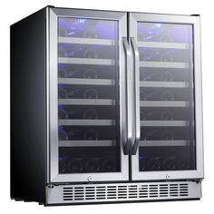 EdgeStar 30-Inch 56 Bottle Built-In Dual Zone French Door Wine Cooler * Read more  at the image link.