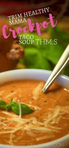 This Trim Healthy Mama Crockpot Taco soup is the perfect THM:S comfort food. Cheesy, spicy, and packed with protein this recipe is a winner!(Soup Recipes For Crockpot) Thm Recipes, Healthy Crockpot Recipes, Cooker Recipes, Healthy Cooking, Trim Healthy Recipes, Recipies, Atkins Recipes, Crockpot Ideas, Cooking Bacon