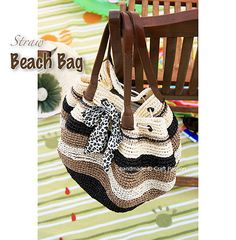free pattern  Ravelry: Straw Beach Bag with Elastic Drawstring pattern by Joanne Loh