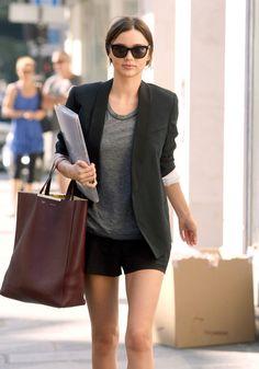 Miranda Kerr - grey t-shirt, short and blazer