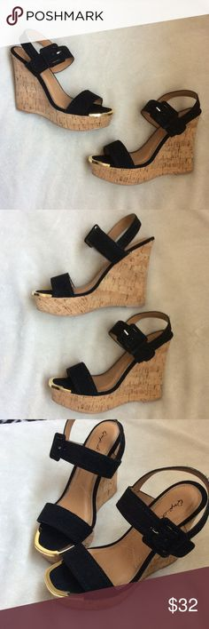 NWT black gold toned wedges Brand new Qupid Shoes Wedges