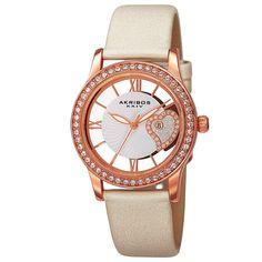 Women'S Akribos Xxiv Ak811Wtr Floating Crystal Heart White Satin Strap Watch