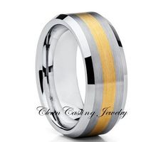 8mm Brushed Yellow Gold Beveled Tungsten Ring Comfort Fit Ring