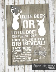 Hunting Theme Deer Gender Reveal Invitation by Meghilys on Etsy