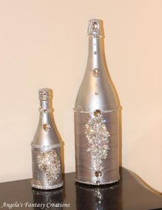 decorate small bottles of champagne for the winter solstice/party section