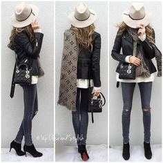 LV scarf, leather jacket, skinny jeans, black booties and Lady Dior handbag for fall outfit inspiration.