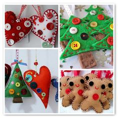 Felt ornaments with button embellishments